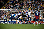 Crystal Palace's Darren Ambrose blast a free kick into the Sheffield Wednesday wall at Hillsborough during the crucial last-day relegation match. The match ended in a 2-2 draw which meant Wednesday were relegated to League 1. Crystal Palace remained in the Championship despite having been deducted 10 points for entering administration during the season.