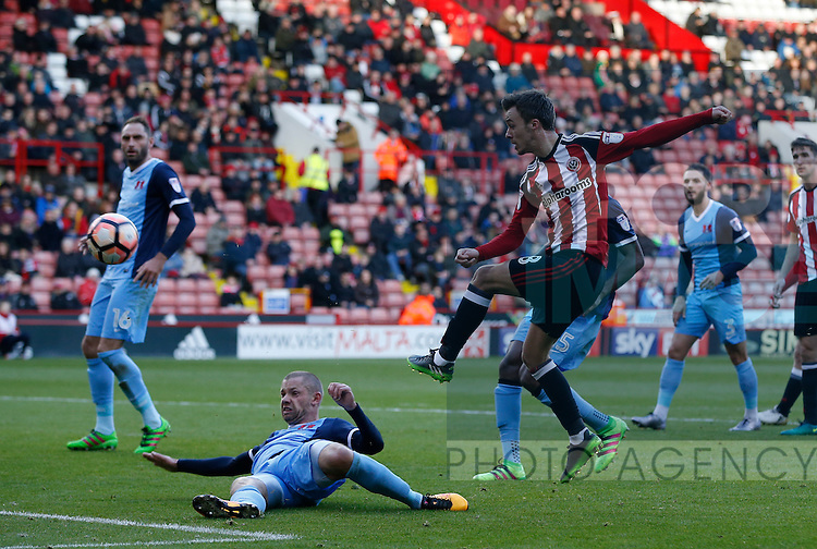 Stefan Scougall of Sheffield Utd scores during the Emirates FA Cup Round One match at Bramall Lane Stadium, Sheffield. Picture date: November 6th, 2016. Pic Simon Bellis/Sportimage