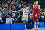 Real Madrid Facundo Campazzo and Baskonia Vitoria Matt Janning during Turkish Airlines Euroleague match between Real Madrid and Baskonia Vitoria at Wizink Center in Madrid, Spain. January 17, 2018. (ALTERPHOTOS/Borja B.Hojas)