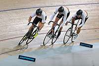 Patrick Clancy, Lachlan Robertson and Kiaan Watts of Waikato BOP compete in the U17 Boys 750m Team Pursuit at the Age Group Track National Championships, Avantidrome, Home of Cycling, Cambridge, New Zealand, Sunday, March 19, 2017. Mandatory Credit: © Dianne Manson/CyclingNZ  **NO ARCHIVING**