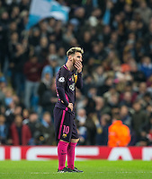 Lionel Messi of Barcelona looks concerned as Man City equalise during the UEFA Champions League match between Manchester City and Barcelona at the Etihad Stadium, Manchester, England on 1 November 2016. Photo by Andy Rowland / PRiME Media Images.