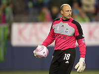 Seattle Sounders FC goalkeeper looks to get the ball down field during play against the San Jose Earthquakes at CenturyLink Field in Seattle Saturday October 15, 2011. The Sounders FC won the game 2-1.