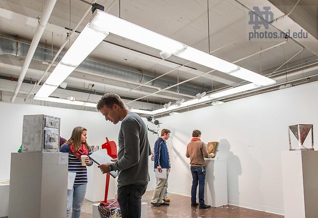 Nov. 25, 2014; Sculpture class critique, Riley Hall (Photo by Matt Cashore/University of Notre Dame)