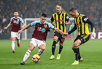 Burnley's Ashley Westwood competing with Watford's  Sebastian Prodl<br /> <br /> Photographer Andrew Kearns/CameraSport<br /> <br /> The Premier League - Watford v Burnley - Saturday 19 January 2019 - Vicarage Road - Watford<br /> <br /> World Copyright © 2019 CameraSport. All rights reserved. 43 Linden Ave. Countesthorpe. Leicester. England. LE8 5PG - Tel: +44 (0) 116 277 4147 - admin@camerasport.com - www.camerasport.com