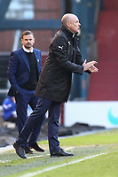 Fleetwood Town manager Uwe Rösler  (right) shouts instructions to his team from the dug-out during the Sky Bet League 1 match between Oldham Athletic and Fleetwood Town at Boundary Park, Oldham, England on 26 December 2017. Photo by Juel Miah / PRiME Media Images.