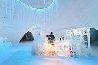The Arctic, Norway_Kirkenes, Snow Hotel. Kristine pouring berry wine.