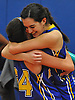 Clare Calabro #10, right, celebrates with teammate #24 Anita Mikowski after Calabro drained a long-range three-pointer at the buzzer to lift the Lady Firebirds to a dramatic 48-47 win over host Our Lady of Mercy Academy in a CHSAA varsity girls basketball league game on Friday, Jan. 13, 2017.