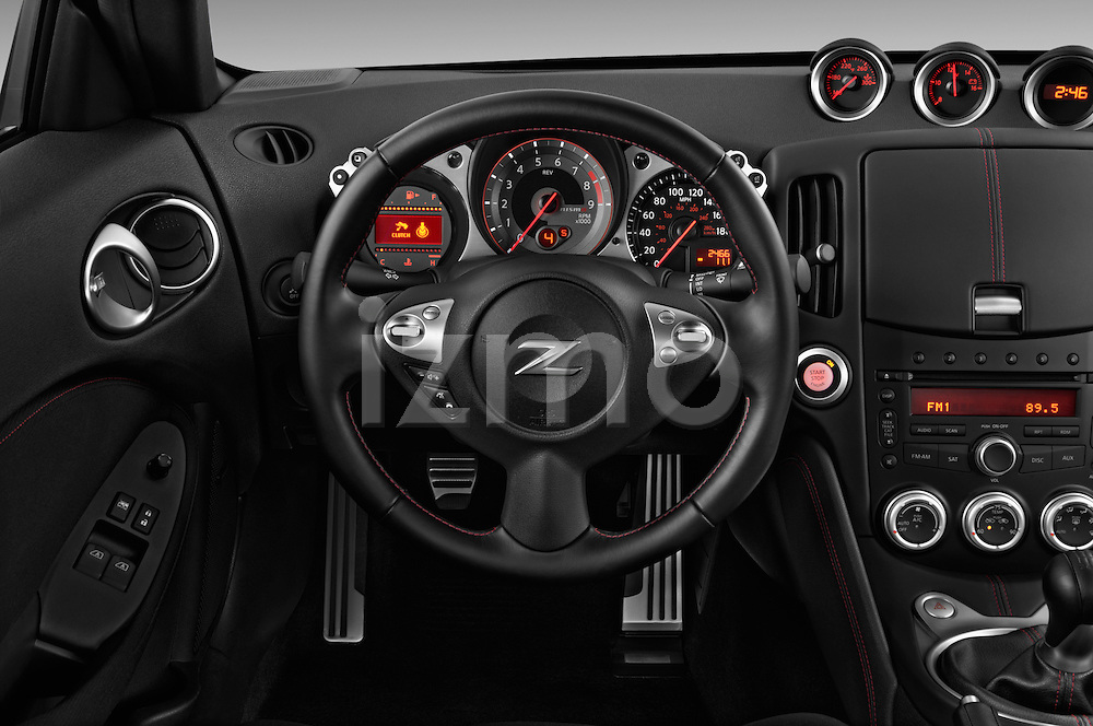 Steering wheel view of a 2013 Nissan 370Z Nismo Coupe