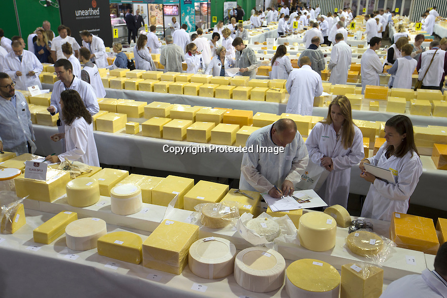 26/06/16<br /> <br /> 2016 UK overall champion - Arla Foods - Taw Valley Creamery. Full list of results: http://www.internationalcheeseawards.co.uk/files/Trophy-Winners-2016.pdf<br /> <br /> It takes more than 250 judges to work their way through the 5,000 plus cheeses being shown at the annual International Cheese Awards, being held in Nantwich. <br /> <br /> Judges look for winning combinations of flavour, aroma, texture and appearance before announcing the overall show winner. <br /> <br /> The show is the world's biggest cheese competition and attracts entries from as far afield as New Zealand and Australia with around half the cheese coming from the UK.<br /> <br /> All Rights Reserved, F Stop Press Ltd. +44 (0)1773 550665