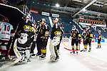 Stockholm 2014-09-11 Ishockey Hockeyallsvenskan AIK - S&ouml;dert&auml;lje SK :  <br /> AIK:s spelare deppar efter matchen m&aring;lvakt Alexander Hamberg , m&aring;lvakt Gustaf Lindvall , Marcus Jonsson , Patric Blomdahl <br /> (Foto: Kenta J&ouml;nsson) Nyckelord:  AIK Gnaget Hockeyallsvenskan Allsvenskan Hovet Johanneshovs Isstadion S&ouml;dert&auml;lje SK SSK depp besviken besvikelse sorg ledsen deppig nedst&auml;md uppgiven sad disappointment disappointed dejected