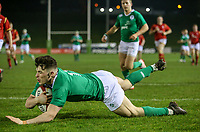 Ireland U20's Calvin Nash scores the opening try<br /> <br /> Photographer Alex Dodd/CameraSport<br /> <br /> RBS Six Nations U20 Championship Round 4 - Wales U20s v Ireland U20s - Saturday 11th March 2017 - Parc Eirias, Colwyn Bay, North Wales<br /> <br /> World Copyright &copy; 2017 CameraSport. All rights reserved. 43 Linden Ave. Countesthorpe. Leicester. England. LE8 5PG - Tel: +44 (0) 116 277 4147 - admin@camerasport.com - www.camerasport.com