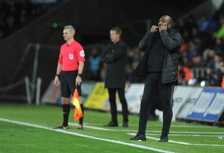 West Bromwich Albion manager Darren Moore shouts instructions to his team from the dug-out<br /> <br /> Photographer Kevin Barnes/CameraSport<br /> <br /> The EFL Sky Bet Championship - Swansea City v West Bromwich Albion - Wednesday 28th November 2018 - Liberty Stadium - Swansea<br /> <br /> World Copyright &copy; 2018 CameraSport. All rights reserved. 43 Linden Ave. Countesthorpe. Leicester. England. LE8 5PG - Tel: +44 (0) 116 277 4147 - admin@camerasport.com - www.camerasport.com