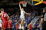 BROOKINGS, SD - FEBRUARY 23: Noah Freidel #11 of the South Dakota State Jackrabbits slams home two points against the South Dakota Coyotes Sunday at Frost Arena in Brookings, SD. (Photo by Dave Eggen/Inertia)