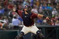 Frisco RoughRiders catcher Tony Sanchez (55) throws down to second base during a Texas League game against the Amarillo Sod Poodles on July 12, 2019 at Dr Pepper Ballpark in Frisco, Texas.  (Mike Augustin/Four Seam Images)