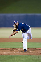 AZL Brewers relief pitcher Karlos Morales (13) follows through on his delivery against the AZL Cubs at Maryvale Baseball Park in Phoenix, Arizona. AZL Cubs defeated the AZL Brewers 9-1. (Zachary Lucy/Four Seam Images)