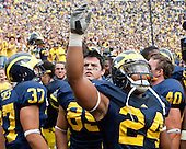 University of Michigan football homecoming victory (36-33) over Indiana University at Michigan Stadium on 9/26/00.