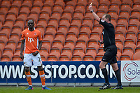 Blackpool's Sanmi Odelusi is shown a yellow card by  Referee Mark Brown <br /> <br /> Photographer Terry Donnelly/CameraSport<br /> <br /> The EFL Sky Bet League Two - Blackpool v Accrington Stanley - Friday 14th April 2017 - Bloomfield Road - Blackpool<br /> <br /> World Copyright &copy; 2017 CameraSport. All rights reserved. 43 Linden Ave. Countesthorpe. Leicester. England. LE8 5PG - Tel: +44 (0) 116 277 4147 - admin@camerasport.com - www.camerasport.com