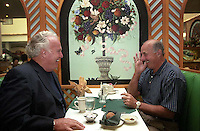 Former Green Bay Packers Paul Hornung and Max McGee at breakfast at the Paper Valley Hotel in Appleton, Wisconsin. McGee died in 2007.