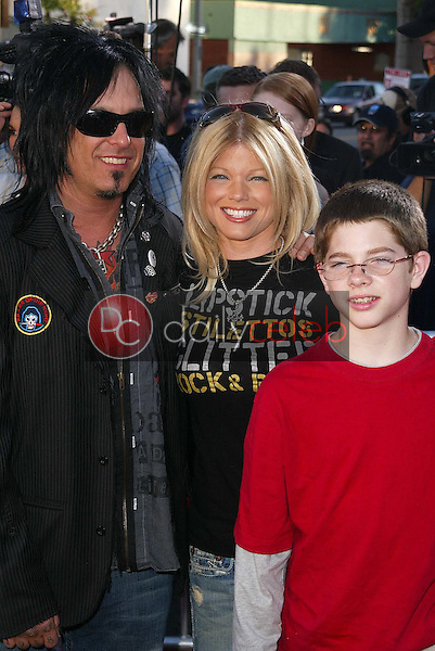 """Nikki Sixx, Donna D'Errico and son<br /> at the """"Star Wars: Revenge Of The Sith"""" Los Angeles Premiere, Mann Village, Westwod, CA 05-12-05<br /> David Edwards/DailyCeleb.Com 818-249-4998"""
