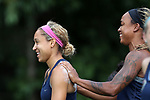 CARY, NC - JUNE 15: Jaelene Hinkle (left) and Jessica McDonald (right). The North Carolina Courage held a training session on June 15, 2017, at WakeMed Soccer Park Field 7 in Cary, NC.