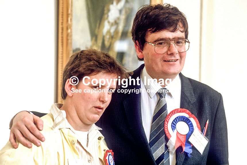 George Seawright, councillor, loyalist politician, Belfast, N Ireland, with wife, Liz, in City Hall. 19850505GS1.<br />