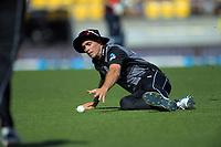 NZ captain Tim Southee fields. Twenty20 International cricket match between NZ Black Caps and England at Westpac Stadium in Wellington, New Zealand on Sunday, 3 November 2019. Photo: Dave Lintott / lintottphoto.co.nz