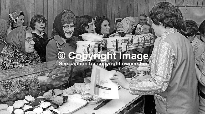 A very busy O'Hara's bakery shop on the Shankill Road, Belfast, N Ireland, during the United Unionist Action Committee, UUAC, strike which lasted from 3rd to 13th May 1977. 197705090157b<br /> <br /> Copyright Image from Victor Patterson, 54 Dorchester Park, Belfast, UK, BT9 6RJ<br /> <br /> Tel: +44 28 9066 1296<br /> Mob: +44 7802 353836<br /> Voicemail +44 20 8816 7153<br /> Email: victorpatterson@me.com<br /> Email: victorpatterson@gmail.com<br /> <br /> IMPORTANT: My Terms and Conditions of Business are at www.victorpatterson.com