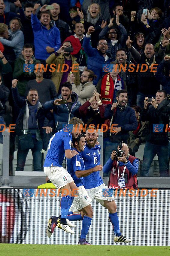 Esultanza Daniele De Rossi, Andrea Belotti e Eder Italy dopo gol 1-1, goal celebration,<br /> Torino 06-10-2016 Juventus Stadium <br /> World Cup Qualifiers Italy - Spain / Italia - Spagna. Foto Filippo Alfero / Insidefoto