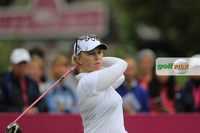 Morgan Pressel (USA) on the 1st tee to start her match during Sunday's Final Round of the LPGA 2015 Evian Championship, held at the Evian Resort Golf Club, Evian les Bains, France. 13th September 2015.<br /> Picture Eoin Clarke | Golffile