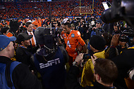 Charlotte, NC - December 5, 2015: QB Deshaun Watson of the Clemson Tigers speaks to the media after winning the ACC Football Championship game between the North Carolina Tar Heels and Clemson at the Bank of America Stadium in Charlotte, North Carolina, December 5, 2015. Clemson defeated North Carolina 45-37.  (Photo by Don Baxter/Media Images International)