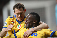 Juventus Football Club's Blaise Matuidi (r) and Stephan Lichtsteiner celebrate goal during Champions League Quarter-Finals 2nd leg match. April 11,2018. (ALTERPHOTOS/Acero) /NortePhoto.com