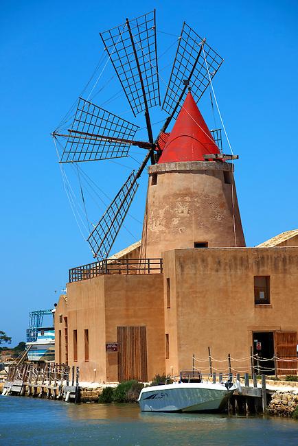 Ettore Infesera windmill, Masala Sicily. travel stock photos Mulino d'Infersa (mill of Infersa) wind mill, Ettore saltworks,  Saline della Laguna, Masala, Sicily.