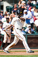 12 April 2008: #14 Fred Lewis of the Giants hits the ball during the St. Louis Cardinals 8-7 victory over the San Francisco Giants at the AT&T Park in San Francisco, CA.
