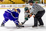 16 February 2019: University of Vermont Catamount Forward Olivia Kilberg, a Sophomore from Edina, MN, takes a face-off against Holy Cross Crusader Forward Julie Matthias, a Senior from Thornton, CO, at Gutterson Fieldhouse in Burlington, Vermont. The Lady Cats defeated the Crusaders 4-1 to sweep their 2-game weekend series. Mandatory Credit: Ed Wolfstein Photo *** RAW (NEF) Image File Available ***