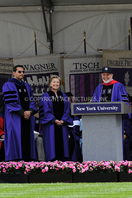 WWW.ACEPIXS.COM . . . . . ....May 13 2009, New York City....Secretary of State Hillary Clinton addressed New York University's graduating class of 2009 and received a Doctor of Laws degree at NYU's 177th Commencement ceremony at Yankee Stadium on May 13, 2009 in the Bronx, New York City.....Please byline: KRISTIN CALLAHAN - ACEPIXS.COM.. . . . . . ..Ace Pictures, Inc:  ..tel: (212) 243 8787 or (646) 769 0430..e-mail: info@acepixs.com..web: http://www.acepixs.com