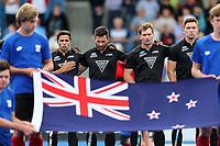 National Anthem during the Pro League Hockey match between the Blacksticks men and the Spain, Nga Punawai, Christchurch, New Zealand, Sunday 16 February 2020. Photo: Simon Watts/www.bwmedia.co.nz