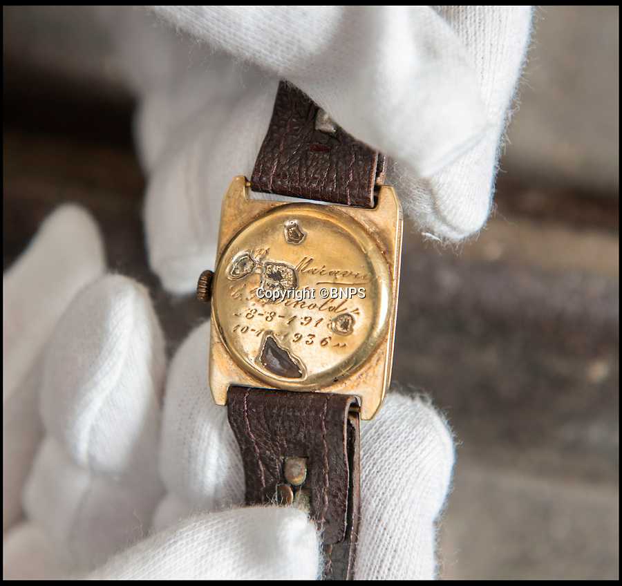 BNPS.co.uk (01202 558833)<br /> Pic: PhilYeomans/BNPS<br /> <br /> Engraved on the back - The date Clement Arnold's father gave the watch to his son, and the date von Maravic returned it to him in 1936.<br /> <br /> Moving and miraculous survivor from 100 years ago - fragile timepiece reveals a remarkable story of courage, death and unlikely friendship from the Western Front.<br /> <br /> An unlikely friendship between a British World War One tank commander and the German foe who saved his life has come to light 100 years after they first met on the battlefield.<br /> <br /> Lieutenant Clement Arnold, of the Tank Corps, had been in charge of a Whippet tank which ploughed through the German defences and wreaked havoc on their trenches at the Battle of Amiens on the 8/8/1918, before recieving a direct hit and catching fire, forcing the three man crew to bail out.<br /> <br /> The enraged German soldiers bayoneted to death the tank driver, Private W J Carnie, but before Lt Arnold suffered the same fate, German officer Ritter Ernst von Maravic stepped in and ordered that he and the tank's gunner were taken prisoner instead.<br /> <br /> As a gesture of gratitude, Lt Arnold gave von Maravic the prized  wristwatch given to him by his father, his most valuable possession.<br /> <br /> Amazingly the two foes then made contact and became friends in the 1930's when von Maravic returned the watch to Clement Arnold and even holidayed in Llandudno with the Arnold family. <br /> <br /> Yesterday Lt Arnold's nephew Jolyon(83) visited the Tank Museum museum in Dorset to retell the astonishing story.
