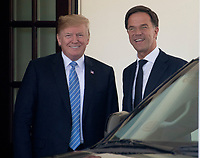 United States President Donald J. Trump welcomes Prime Minister Mark Rutte of the Netherlands to the White House in Washington, DC on Monday, July 2, 2018.<br /> CAP/MPI/RS<br /> &copy;RS/MPI/Capital Pictures