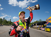 Jun 6, 2016; Epping , NH, USA; NHRA pro stock driver Greg Anderson celebrates after winning the New England Nationals at New England Dragway. Mandatory Credit: Mark J. Rebilas-USA TODAY Sports