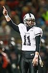Cedar Ridge quarterback Garrett Sharp celebrates a Ron Dogan touchdown in the second half against Bowie.  (LOURDES M SHOAF for Statesman.)