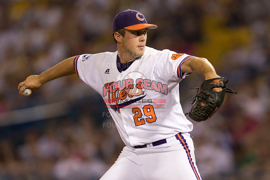 Clemson pitcher David Haselden in Game 12 of the NCAA Division One Men's College World Series on June 25th, 2010 at Johnny Rosenblatt Stadium in Omaha, Nebraska.  (Photo by Andrew Woolley / Four Seam Images)