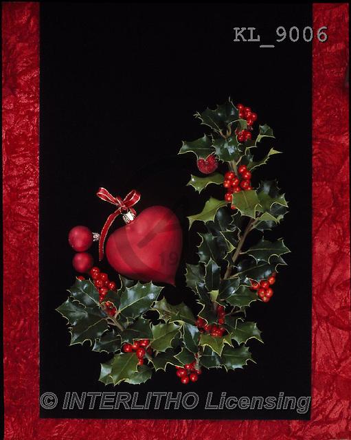 Interlitho, CHRISTMAS SYMBOLS, WEIHNACHTEN SYMBOLE, NAVIDAD SÍMBOLOS, photos+++++,holly,red heart,KL9006,#xx#