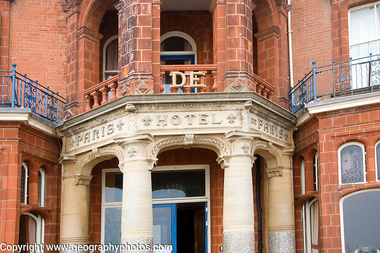 Architectural detail of the Hotel de Paris in the seaside town of Cromer, north Norfolk coast, England