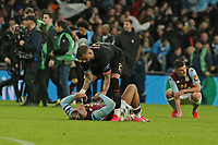 Jack Grealish of Aston Villa looks dejected at the final whistle here with Kyle Walker of Manchester City during Aston Villa vs Manchester City, Caraboa Cup Final Football at Wembley Stadium on 1st March 2020