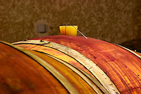 A wooden barrel with a silicone bung hole stopper and a metal wire on which there is a sulphur pellet burning to clean the barrique. Domaine Yves Cuilleron, Chavanay, Ampuis, Rhone, France, Europe