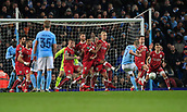 9th January 2018, Etihad Stadium, Manchester, England; Carabao Cup football, semi-final, 1st leg, Manchester City versus Bristol City; Kevin De Bruyne of Manchester City fires a free-kick towards the Bristol goal but it is blocked