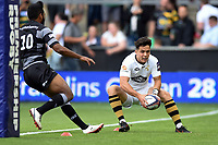 Callum Sirker of Wasps scores a try. Premiership Rugby 7s (Day 2) on July 28, 2018 at Franklin's Gardens in Northampton, England. Photo by: Patrick Khachfe / Onside Images