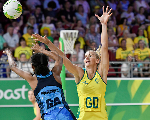 9th April 2018, Gold Coast Convention and Exhibition Centre, Gold Coast, Australia; Commonwealth Games day 5; Netball, Australia versus Fiji; April Brandley of Australia tries to block a pass from Unouna Rusivakula of Fiji