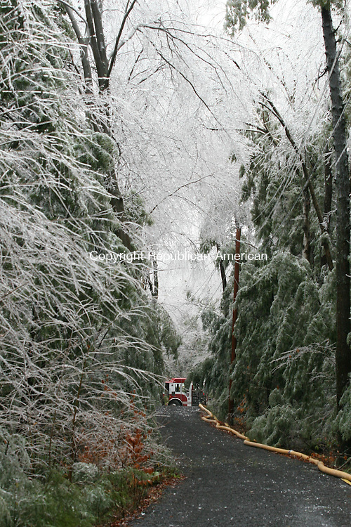 WINSTED, CT - 12 December, 2008 - 121208MO04 - Ice clung to trees at higher elevations in northern Litchfield County Friday, including the driveway of a Winsted home at 113 Highview Drive that was heavily damaged after a generator burst into flames. Downed trees delayed the response of firefighters. Jim Moore Republican-American.