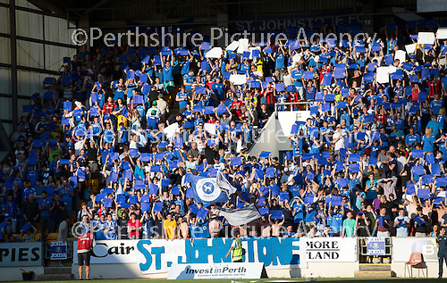 St Johnstone v FC Luzern...24.07.14  Europa League 2nd Round Qualifier<br /> Sainst fans display blue and white cards<br /> Picture by Graeme Hart.<br /> Copyright Perthshire Picture Agency<br /> Tel: 01738 623350  Mobile: 07990 594431
